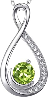 "August Birthstone Necklace Green Peridot Jewelry Birthday Gifts Women Love Infinity Sterling Silver Pendant 20"" Chain"