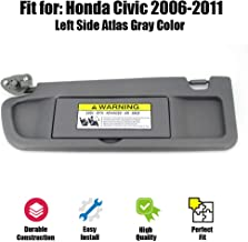 ustar Sun Visor Left Driver Side Fit for Honda Civic 2006 2007 2008 Without Vanity Light Replacement Part #83280-SNA-A01ZA (Atlas Gray, 2006-2008)