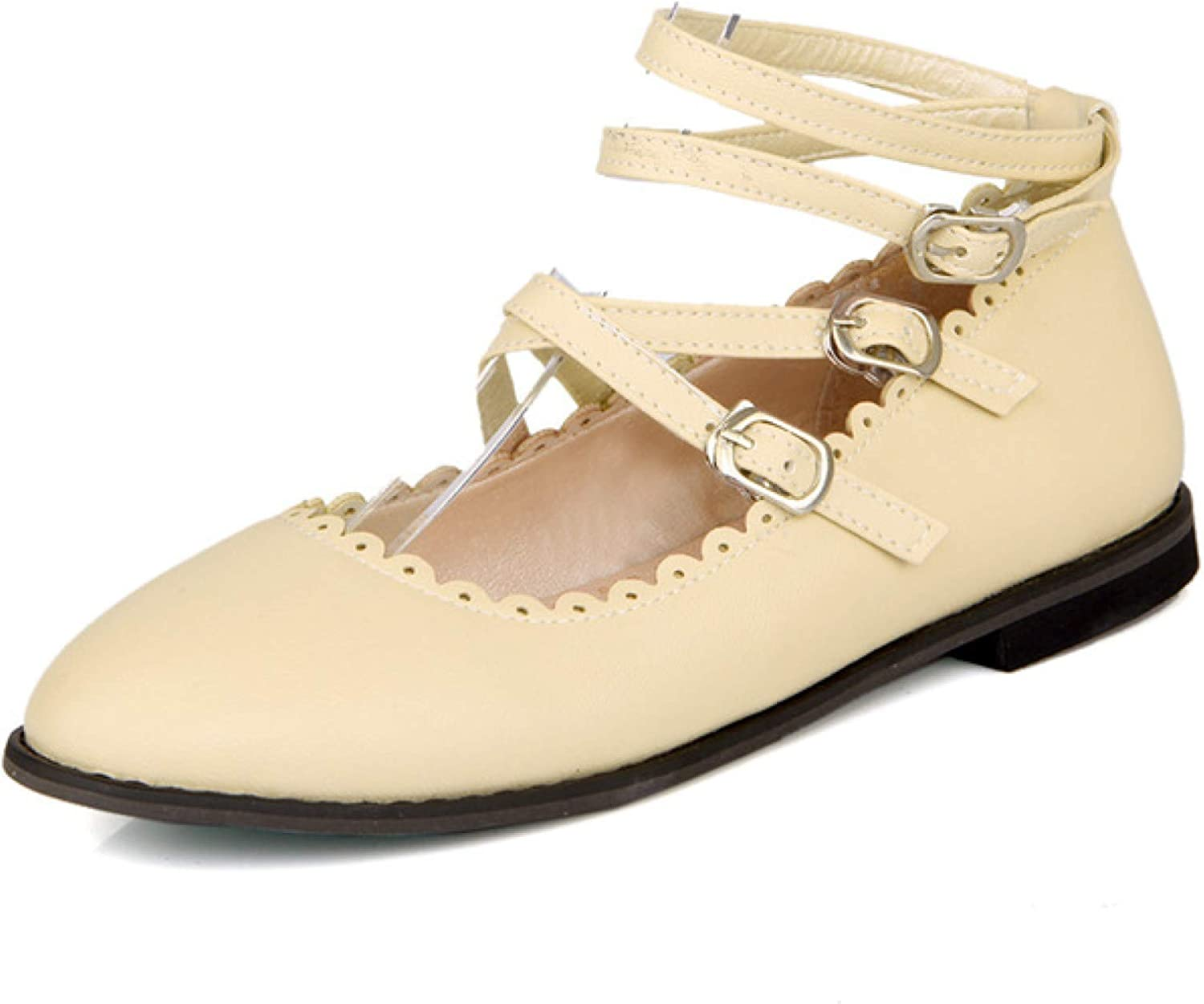 Women Ankle Buckle Strap Round Toe Louisville-Jefferson County Mall Platform L Janes Mary Fashion Direct store