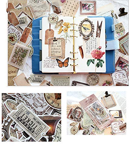 CAOLATOR Vintage Insekt Sticker Aufkleber Kinder Sticker Papier Deko Mädchen Sticker für Scrapbooking Tagebuch Notizbuch Kalender Stickerbuch Dekoration (Altes Briefpapier)