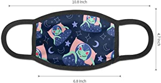 Pattonef Alien Cat Sleeping With A Blue Blanket Moons And Stars Face Mouth Mask Dust Masks With Elastic Ear Loop Anti Dust Black For Men And Women Customized
