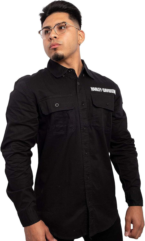 Harley-Davidson Mens #1 B&S Logo Black Long Sleeve Woven Shirt - 98749-20VM