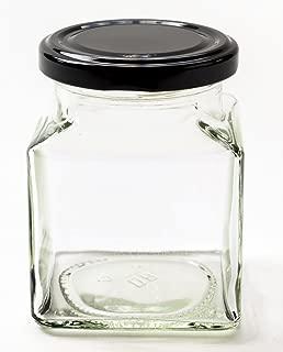 Nutley's - 200 ml tarros de Mermelada/tarros, Cuadrados, para la Salsa Picante, con Cubierta de Color Negro (12 Piezas)