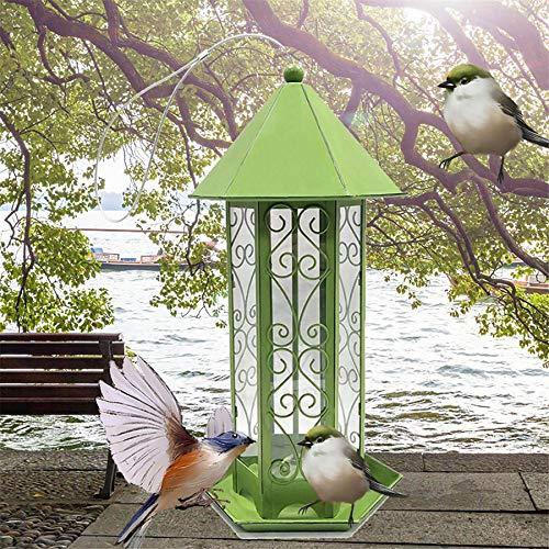 XLanY Comedero para Pájaros Silvestres para Colgar Al Aire Libre, Caja De Alimentación para Loros, Estación De Alimentación Clásica para Aperitivos, Soporte para Cubos, Resistente A Las Ardillas