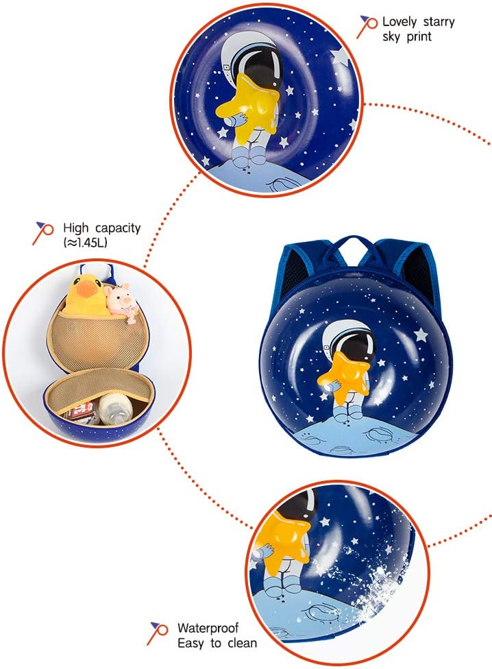 SUPERCUTE Astronaut Stars Shining Space kids backpack with Anti-Lost Safety Leash adorable kids bag gifts for 1-6 Years Toddlers Preschool Kindergarten