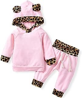 Newborn Infant Baby Girls' Pink Leopard Hoodie T-Shirt Top + Pants Outfits Set 2Pcs