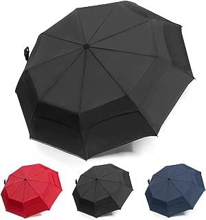 UENHOQ Compact Travel Umbrella Windproof Double Canopy Vented - Auto Open Close Portable Lightweight Folding Umbrella Double Layer