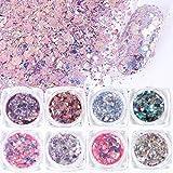 Iceblueor - Set di 8 scatole, olografiche, glitterate a forma di sirena, in polvere, con ciondoli a forma di coda di sirena, per nail art, pigmento per nail art, per manicure (glitter 01)