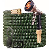 WGCC Expandable Garden Hose, 50ft Heavy-Duty [4 Layers Latex] 5-in-1 Water Gardening Hose with 9 Function Alloy Sprayer Nozzle - No Kink Flexible Water Hose with 3/4' Solid Brass Fittings (Green)