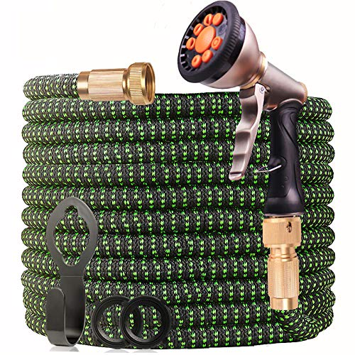 """WGCC Expandable Garden Hose, 50ft Heavy-Duty [4 Layers Latex] 5-in-1 Water Gardening Hose with 9 Function Alloy Sprayer Nozzle - No Kink Flexible Water Hose with 3/4"""" Solid Brass Fittings (Green)"""