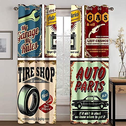 ANAZOZ 2 Paneles Cortinas Opacas Cortina Salon Poliester Reparar el Coche y Repostar Rojo Azul Cortinas para Dormitorio Tamaño 264x244CM