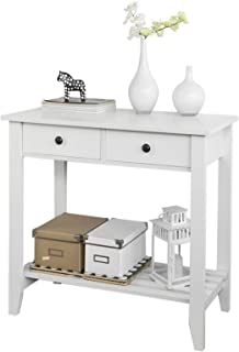 SoBuy Mesa Auxiliar con 2 Cajones y Tablero o Estante Consola Mesa Madera Escritorio Blanco Carro de Cocina FSB04-W ES