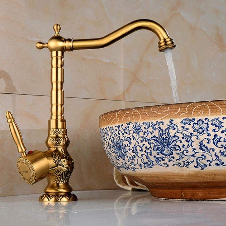 Lddpl Wasserhahn Hochwertige Retro Vintage Antik Messing Waschbecken Waschbecken Wasserhahn Mischbatterie kalt warm Wasser