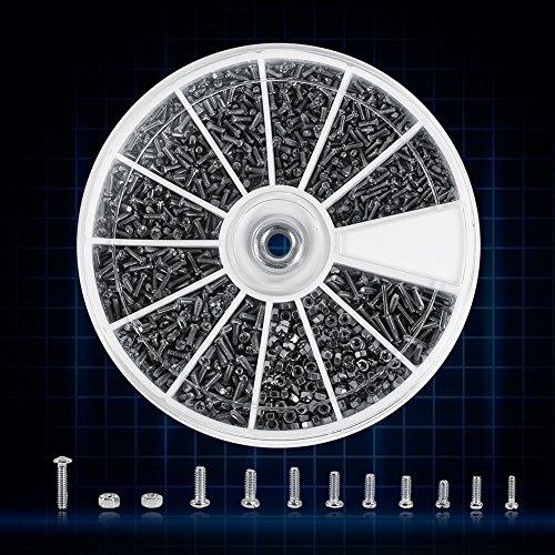 600 Stück 12 Arten von kleinen Schrauben Muttern Sortiment Kit M1 M1.2 M1.4 M1.6 für Uhren ohne Glas
