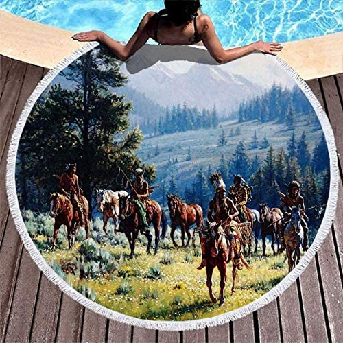 Native American Horses Mountain Forest White Round Tapestry Roundies Beach Towel Throw Blanket product image
