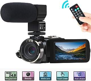 Cámara de Video ACTITOP Camcorder FHD 1080P 24MP IR Visión Nocturna Videocámara con Pantalla Táctil LCD de 3con Micrófono Externo y Control Remoto