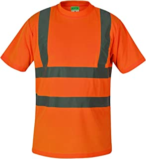 SHORFUNE High Visibility T-Shirt with Short Sleeve, Reflective Strips, Orange, ANSI/ISEA Standards, XL