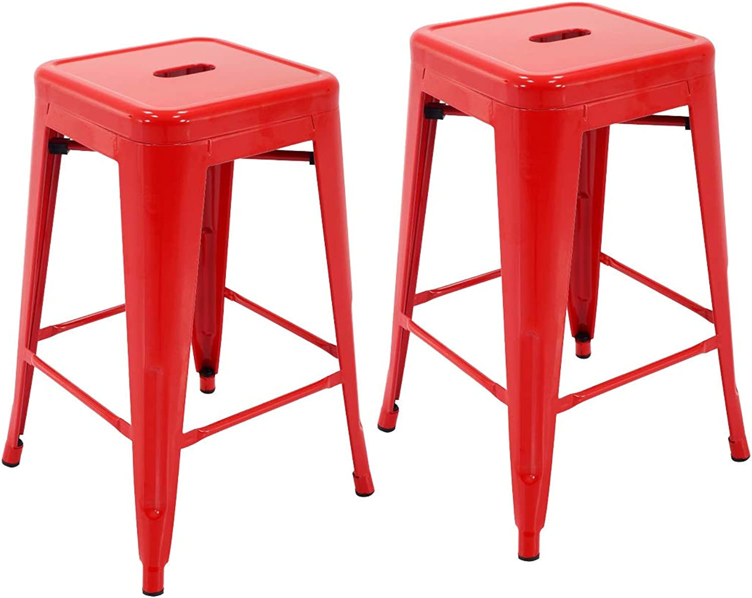 """Porthos Home ZFC002B RED Stackable Indoor & Outdoor Metal Patio Counter, 24"""" Seat Height (Set of 2) Bar Stools, One Size"""