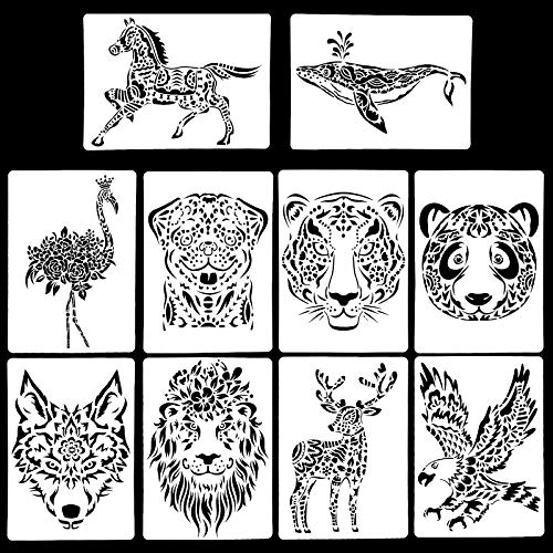 10 Stück Schablonen Set Kunststoff Zeichnung Malerei Vorlage, Tiere Malschablonen Wiederverwendbare Zeichenschablonen Journal Schablone Aubehör für Kinder Scrapbooking Tagebuch (Tiere Schablonen)