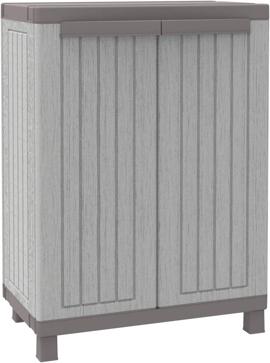 TERRY, C-Wood 680, Armario 2 Puertas con 1 Estante Interno, Gris/Negro, 68 x 39 x 91.5 cm