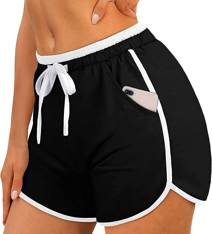 Women Casual Solid Pant Belt Elastic Waist Pant Pocket Loose Slim Short Pants