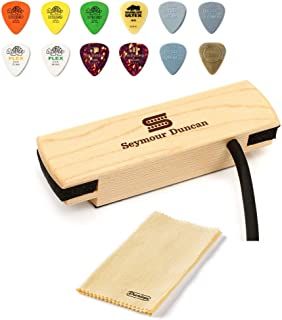 Seymour Duncan Woody HC Hum-Canceling Soundhole Pickup, Maple - Bundled with Dunlop Acoustic Pick Pack and Cleaning Cloth