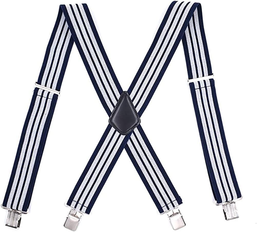 Mens Suspenders Braces For Work Adjustable Elastic Trousers Pants Straps Belts X Back Strong Metal Clips