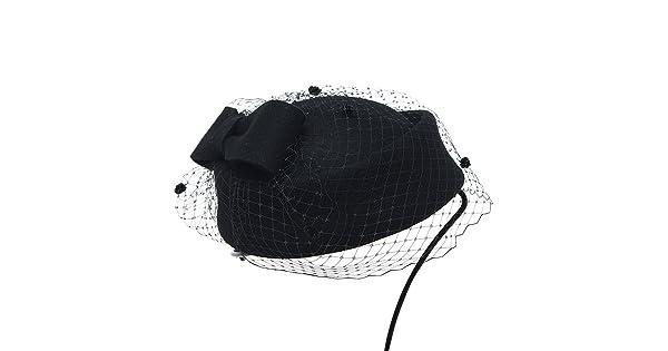 Lawliet Womens Dress Fascinator Wool Felt Pillbox Hat Party Wedding Bow Veil A080 A080black