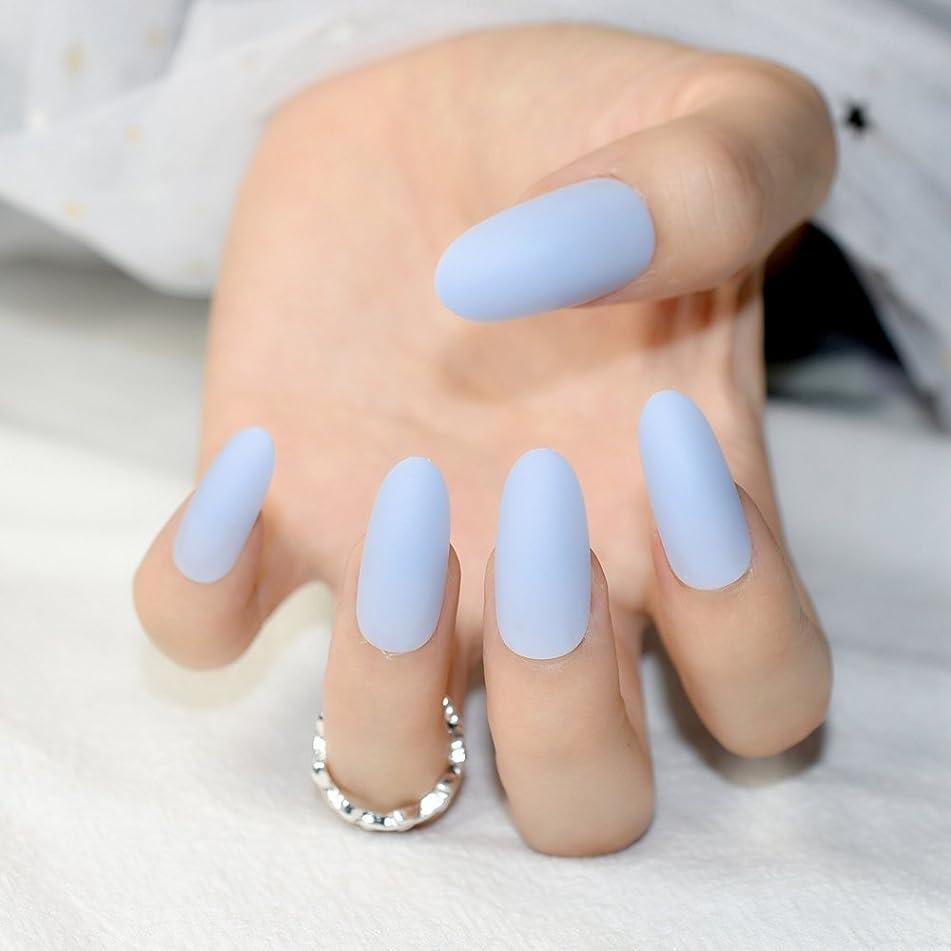 24Pcs Matte Sky Blue False Nails Kit Lady Fake Nail Tips Round Top Matte Oval Artificial Nails Nep Z795