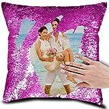 Almohada de Lentejuelas de Foto Personalizada Personalizada Almohada de Lentejuelas de Sirena Reversible Magic Pillowcase(Púrpura2 Funda de Almohada de Doble Cara)