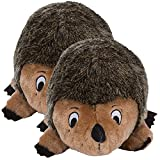 Outward Hound Kyjen 32022 Hedgehogz Dog Toys Plush Rattle Grunt and Squeak Toy, Large, Brown (2 Pack)