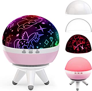 Night Light for Girls,Unicorn Lamp,Princess Projector,Girls Gifts for 2 3 4 5 Years Old,Christmas Gift for 1-15 Years Old (Unicorn&Princess-Pink)