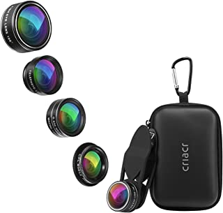 5 in 1 Phone Camera Lens Kit 2X Zoom Telephoto Lens + 198° Fisheye Lens + 0.63X Angle Lens & 15X Macro Lens (Attached Toge...