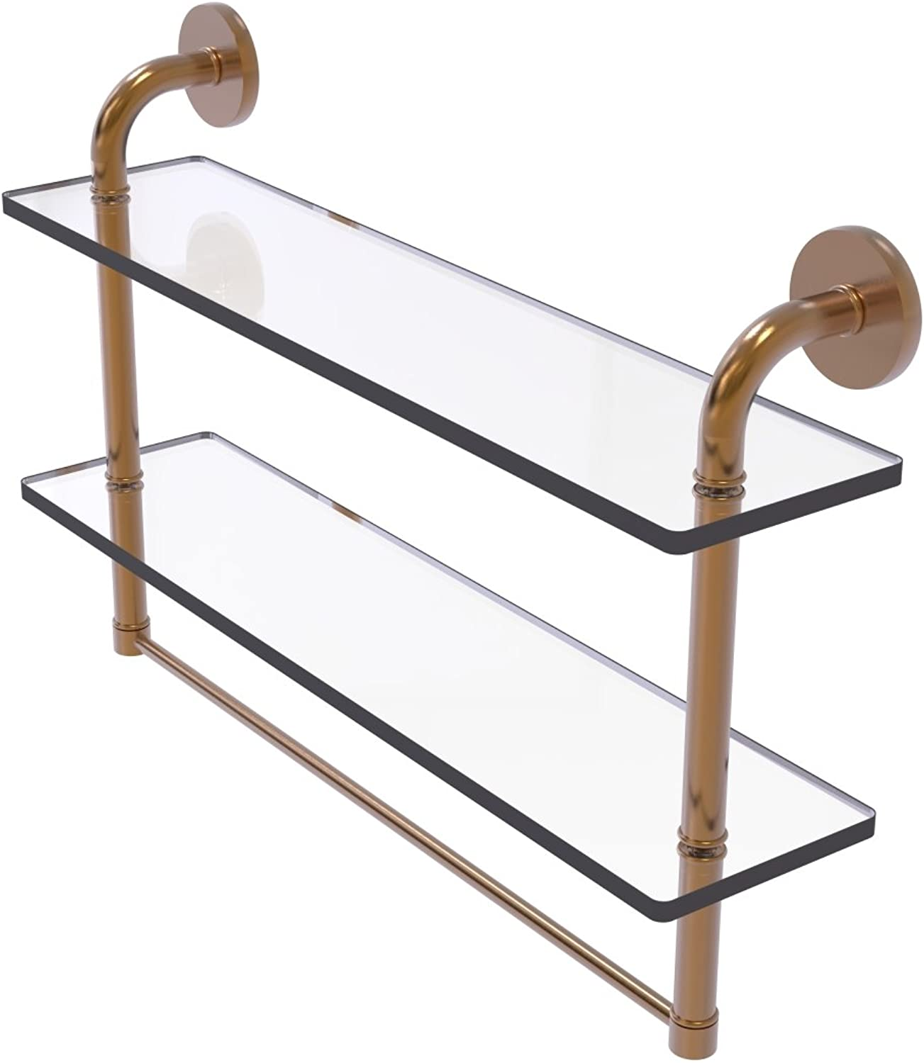 Allied Brass Remi Collection 22 Inch Two Tiered Glass Shelf with Integrated Towel Bar, RM-2-22TB-BBR