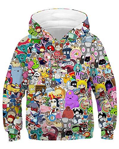 AMOMA Unisex Sweatshirt Hoodies für Kinder 3D Digitaldruck Galaxy Anime Kapuzenpullover(Medium/8-11 Jahren,AnimeZoo)