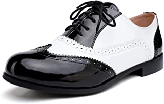 Odema Womens Classic Wingtip Brogue Lace Up Low Heel Dress Oxfords