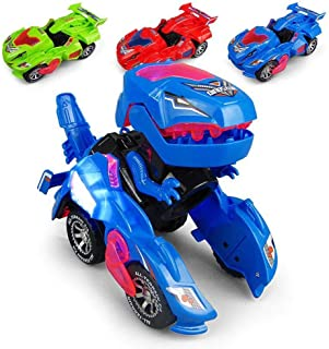 GRAWILLE Transforming Dinosaur LED Car Dinosaur Transform Car Toy Automatic Dino Dinosaur Transformer Toy Car for Kids 3+ Years Old (Blue)