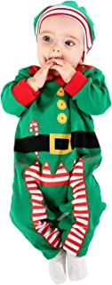 Baby Romper Kid Chrismas Bodysuit 100% Cotton Outfits (3-6Months, Green)