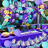 Decoraciones de cumpleaños de sirena para niñas con sirena de red de pesca náutica Cake Topper Garland para la fiesta de cumpleaños