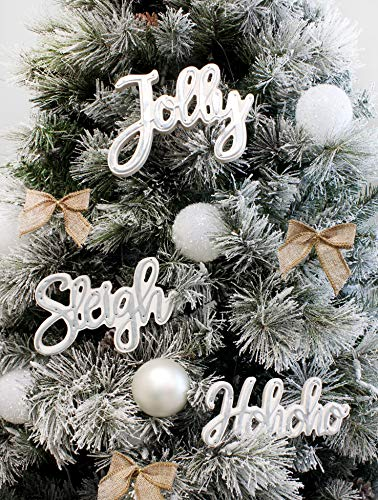 "AuldHome Large Farmhouse Christmas Word Art Ornaments in Galvanized Rustic Tin Script with ""Jolly"", ""Sleigh"" and ""Hohoho"" (Set of 3 7-Inch Signs)"