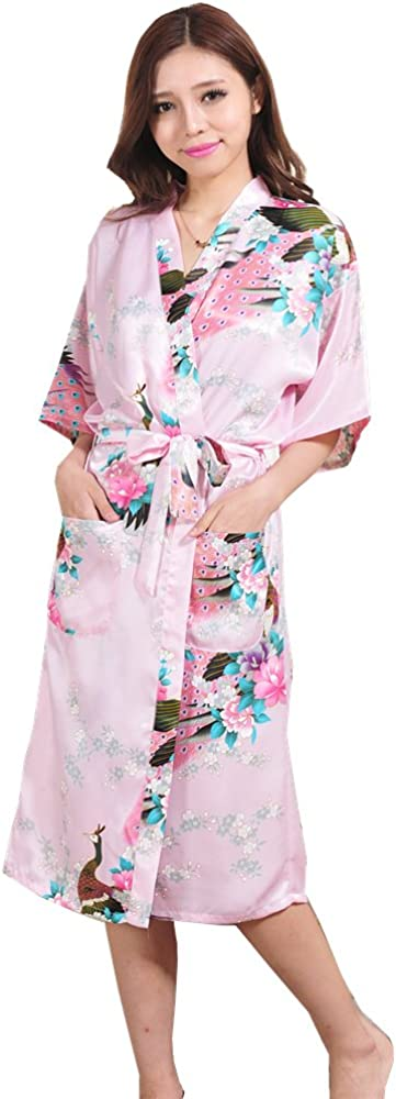 Must Rose Women Long Kimino Robe Peacork Satin Nightwear Peacork &Blossoms(XXX-Large, Pink)