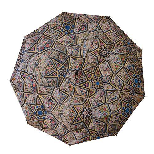 BALEH paraplu zakparaplu | Perzisch architectuur-kunstmotief Iran | klein, licht, windbestendig, teflon gecoat | automatisch uitschakelen | 9 ribs