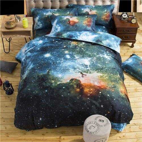 Xiuer 3D Galaxy Duvet Cover Set Single Double Bed / Large 2 Pieces / 3 Pieces / Bedding Set Universe Room Theme Sheets 220 x 240 cm Xk006