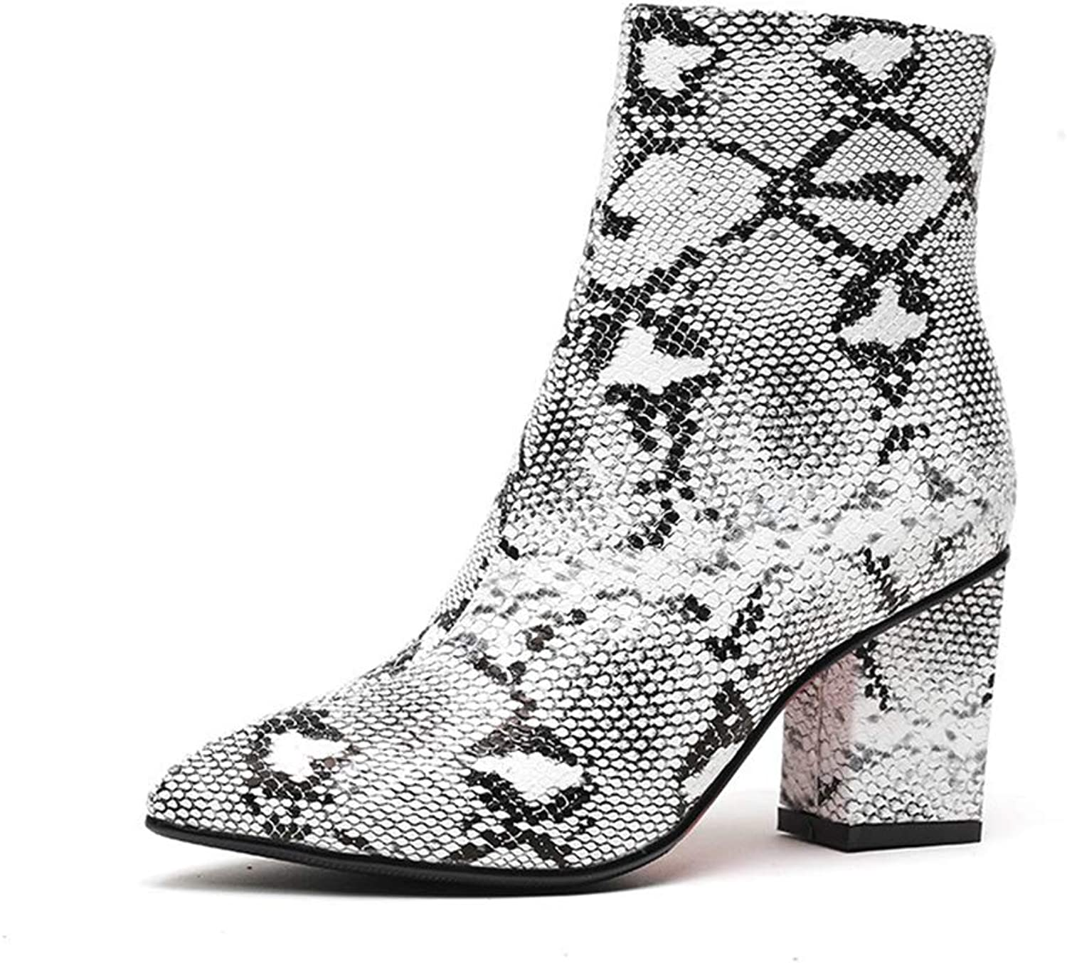 Btrada Women Ankle Boots Sexy Snake Printing Booties Pointed Toe Chunky Square Thick Heel Zip Winter shoes
