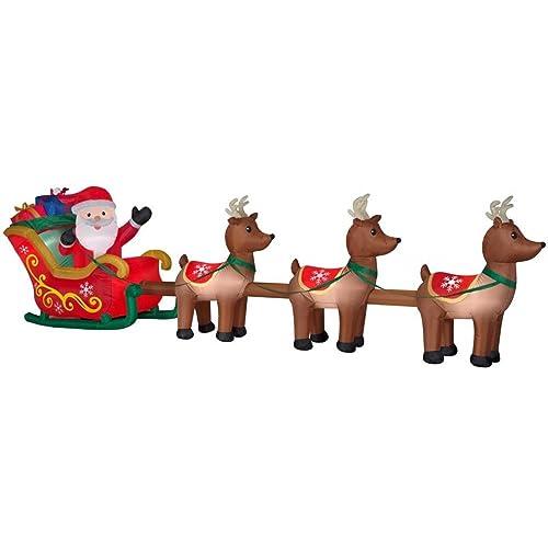 Gemmy 36855 Santa with Sleigh and Reindeer Christmas Inflatable
