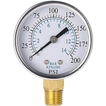 KKmoon 50mm 0 ~ 200psi 0 ~ 14 bars Piscine Filtre Pression deau Cadran Thread NPT 1//4 hydraulique Manom/ètre Compteur Manom/ètre