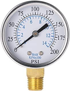F Fityle 60psi// 4bar 1//4 NPT Air Hydraulic Pressure Gauge 0-60 PSI 0-4 Bar Side Mount Manometer