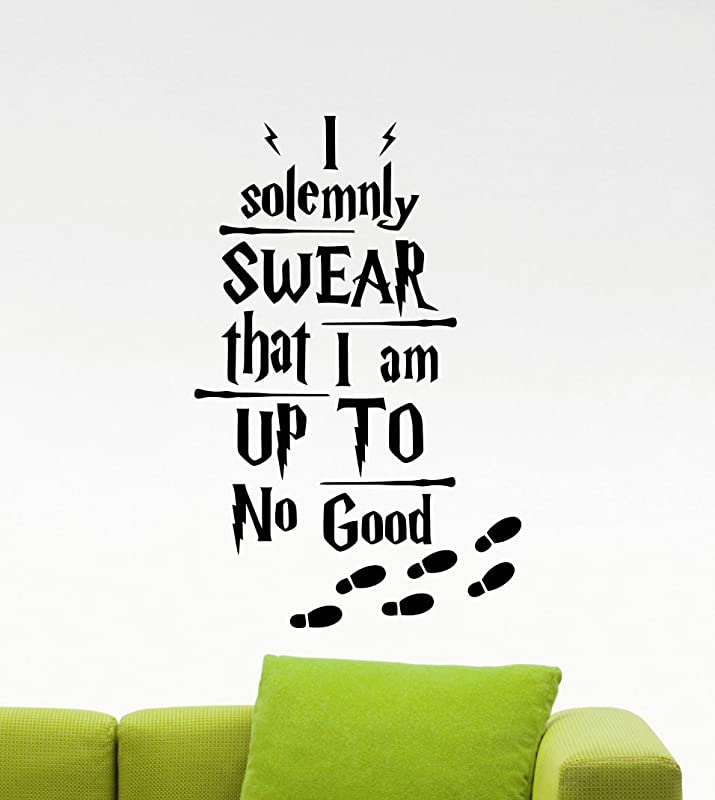 Harry Potter Wall Decal I Solemnly Swear That I Am Up To No Good Quote Poster Geek Gift Stencil Artwork Vinyl Sticker Baby Wall Art Kids Room Nursery Wall Decor Removable Mural 28v