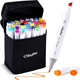 Ohuhu 40-color Alcohol Markers, Dual Tips Permanent Art Markers for Kids, Highlighter Pen..