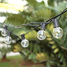 G40 Outdoor String Bulb Lights with 25 Clear Globe Bulb(2 Replacement Bulbs)- UL Certified 25Ft Waterproof String Lights O...